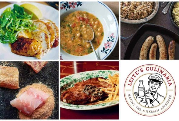 A grid of five weeknight winners, including sliced cinnamon chicken, chickpea soup, bratwurst and sauerkraut, lentil-crusted fish, and seared steak, and a Manny the Milkman logo.