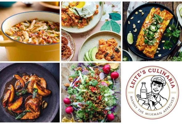 A grid of five weeknight winners, including chicken and white bean chili, kimchi fried rice, enchiladas, pork cutlets with apples, and a turkey taco salad, and a Manny the Milkman logo.