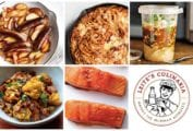 A grid of five weeknight winners, including sauteed sausages with apples, cheesy baked spaghetti, North African soup, roasted curried cauliflower, and maple glazed salmon, and a Manny the Milkman logo.