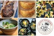 A grid of five weeknight winners, including salt and pepper rib eye, Thanksgiving leftover turnovers, skillet cauliflower pasta, Vietnamese chicken rice soup, and kale shakshuka, and a Manny the Milkman logo.