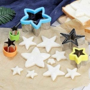 5 Pointed Star Cookie Cutter Set shown with unfrosted cookies.