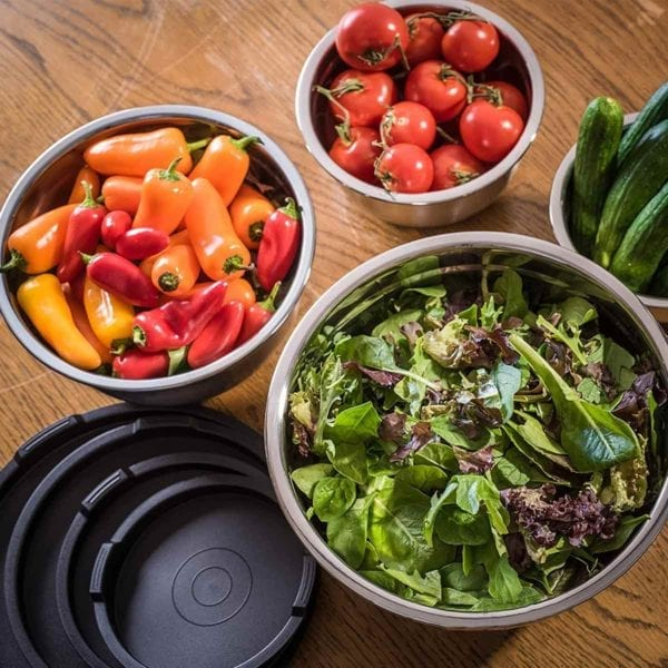 Bellemain Non-Slip Mixing Bowls filled with fresh veggies.