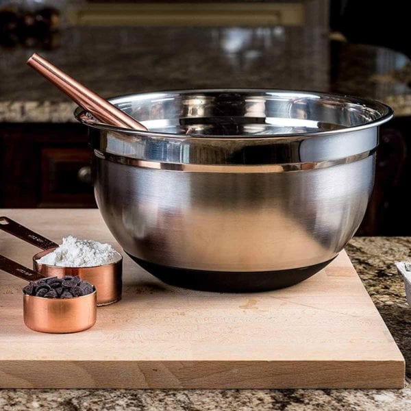Bellemain Non-Slip Mixing Bowls on cutting board with chocolate chips and flour.