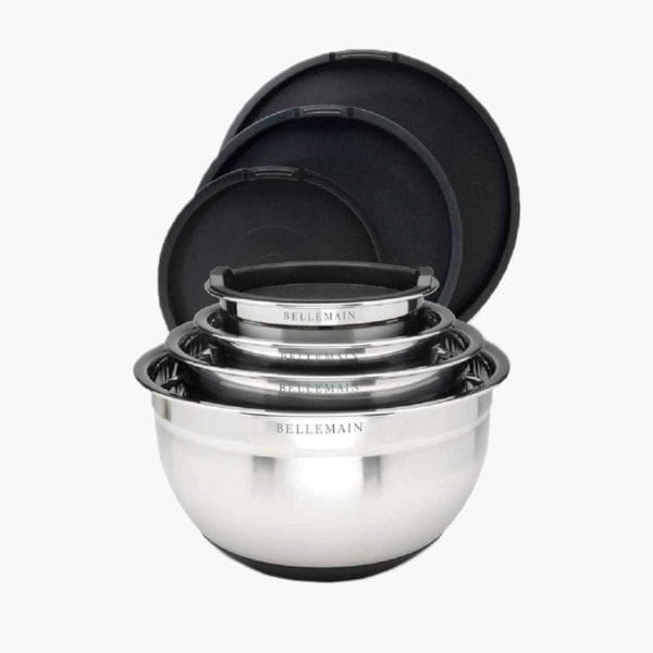 Set of Bellemain Non-Slip Mixing Bowls with lids behind them.