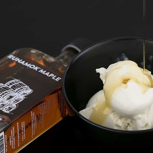 Bourbon Barrel Aged Maple Syrup with Ice Cream