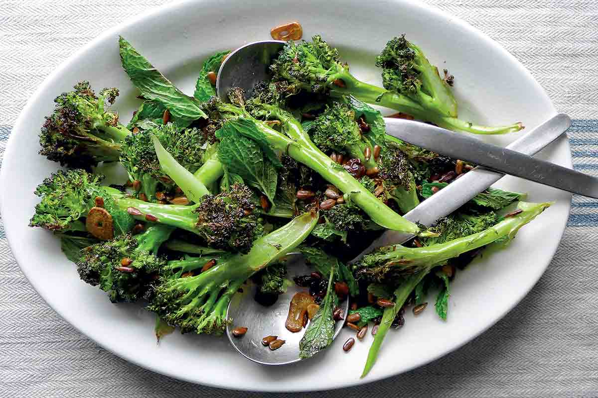 Roasted Broccoli with Pickled Golden Raisins