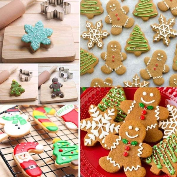 Four square shots of Christmas Cookie Cutter Set cookies.