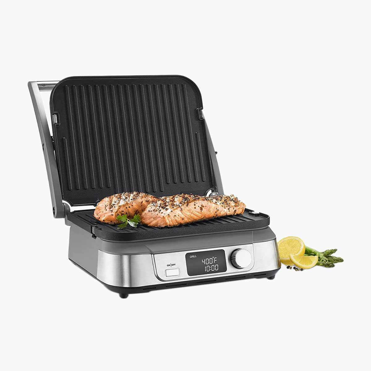 Cuisinart Electric Griddler in use with salmon.