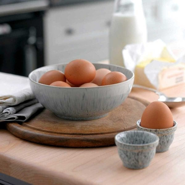 Denby Halo Coupe Bowl with eggs.