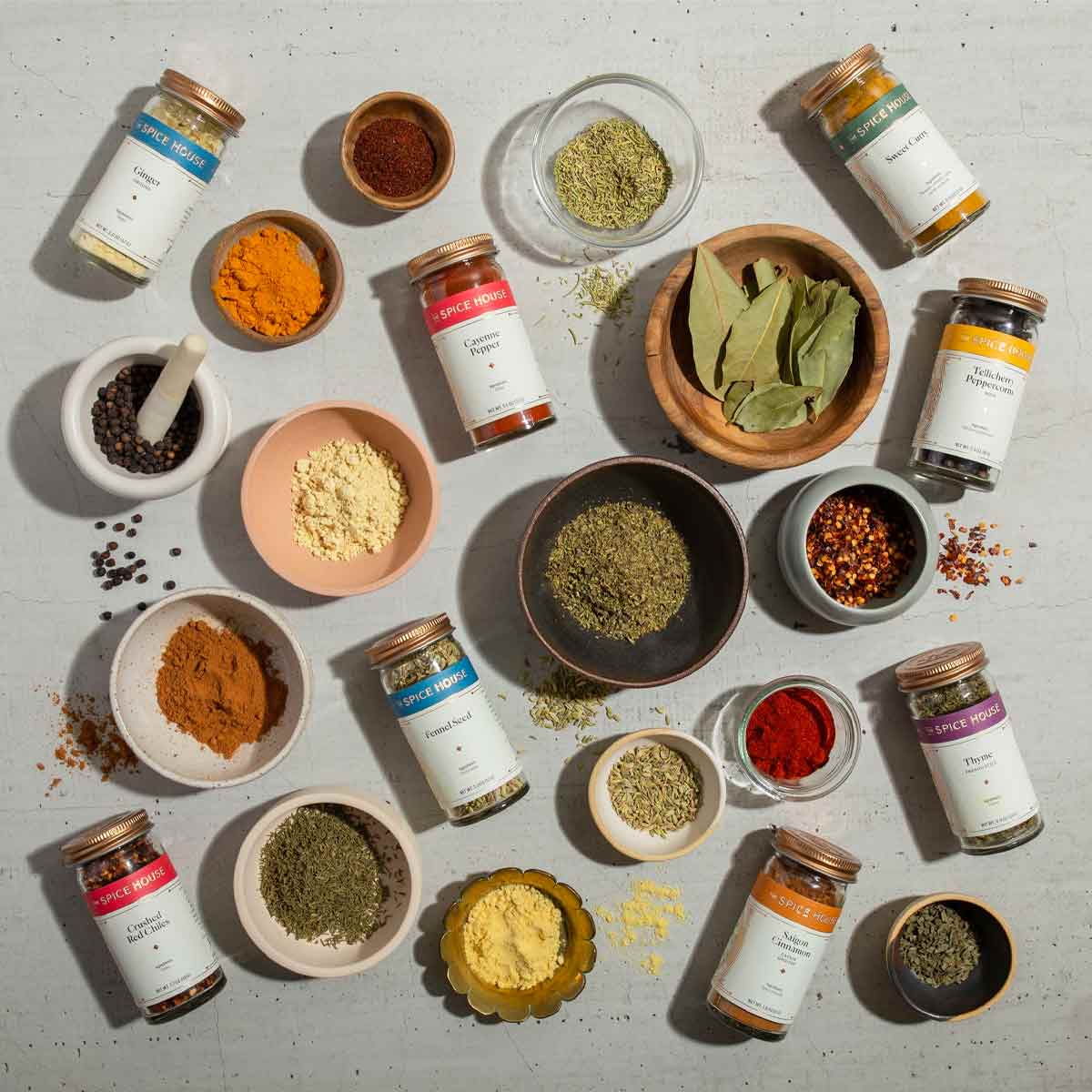 The Essential Spices Collection with ramekins.