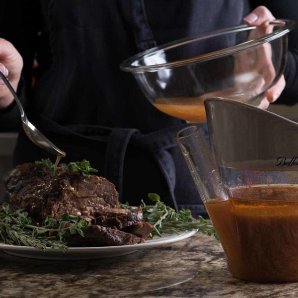 Fat Separator and Measuring Cup shown filled with gravy for roast beef.