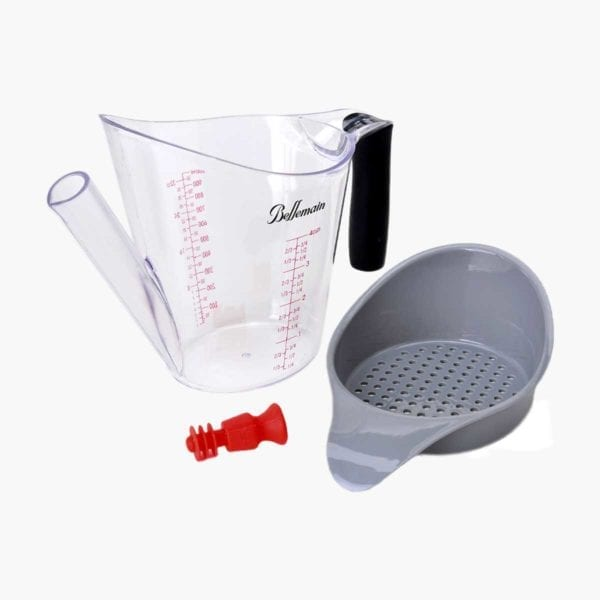 Fat Separator and Measuring Cup shown disassembled.