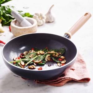 GreenPan Hudson Open Wok with stir fry.