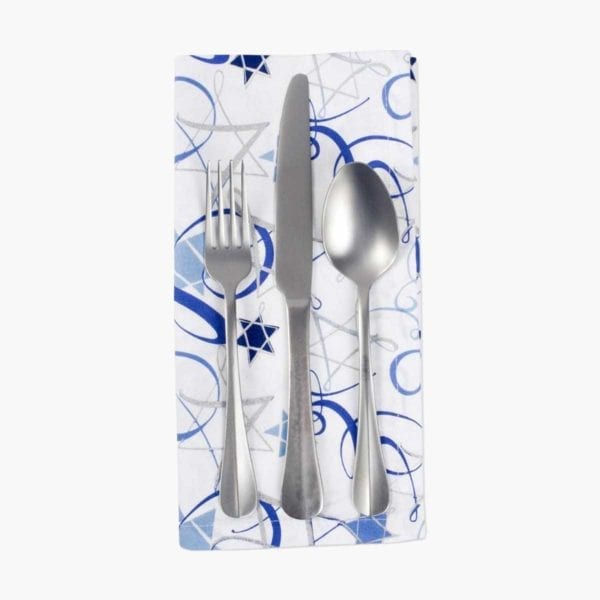 Hanukkah Swirls Printed Napkins with silverware on top.