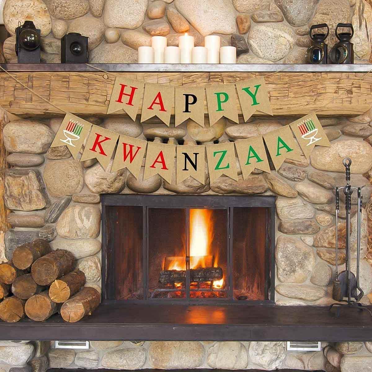 Kwanzaa Banner on mantle.