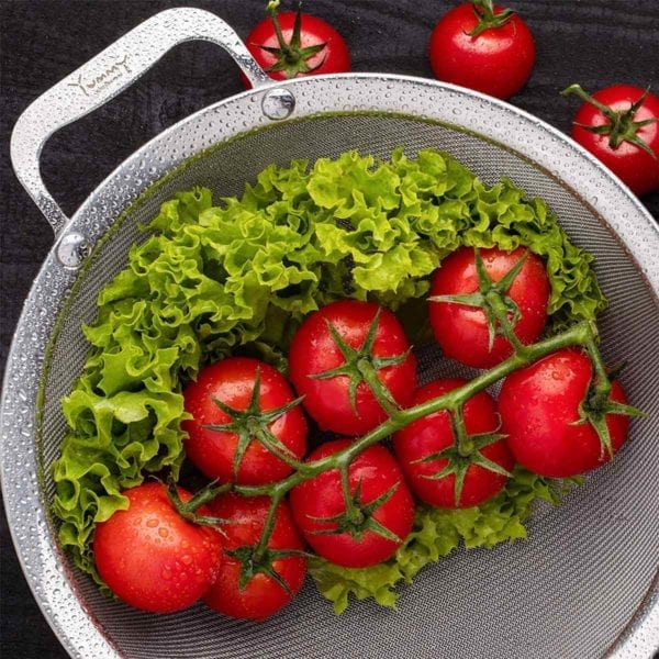 Large Fine Mesh Strainer with Tomatoes