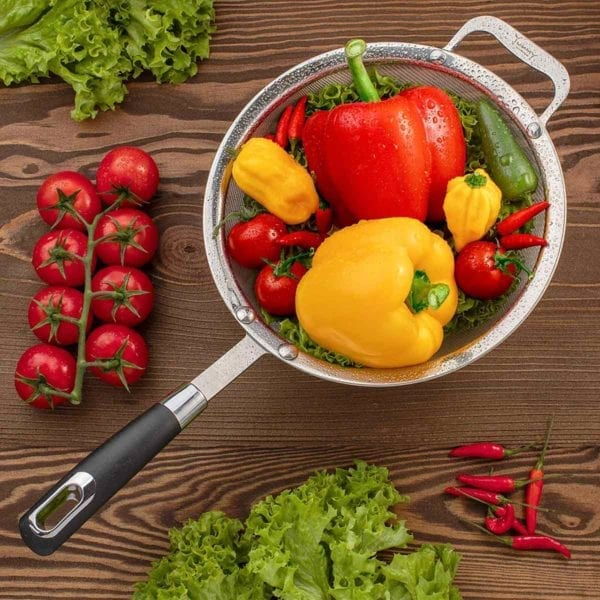 Large Fine Mesh Strainer with Peppers