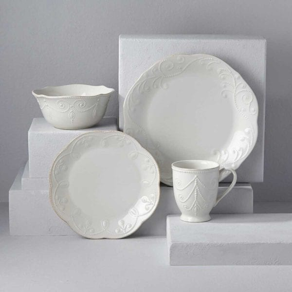 Lenox French Perle Dinnerware on white cubes.