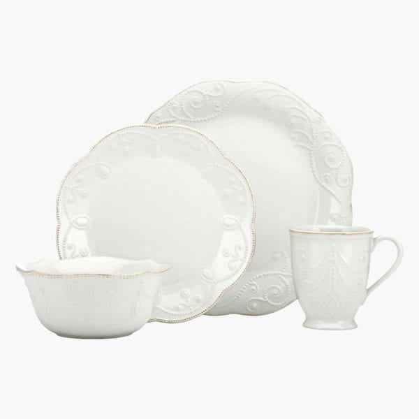 Lenox French Perle Dinnerware shown with white background.