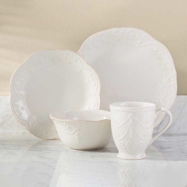 Lenox French Perle Dinnerware on white table.