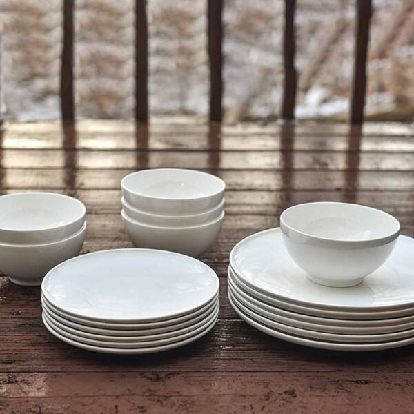 Set of Red Vanilla White Dinnerware withouth mugs.