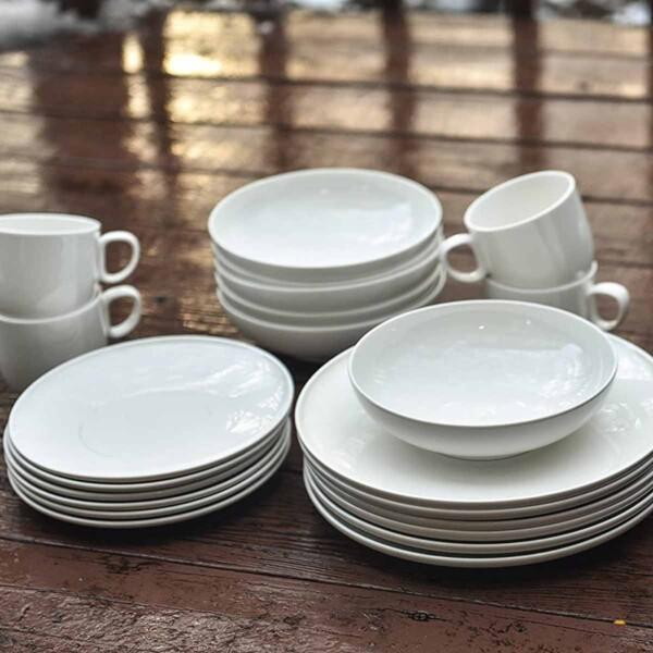 Set of Red Vanilla White Dinnerware with mugs.
