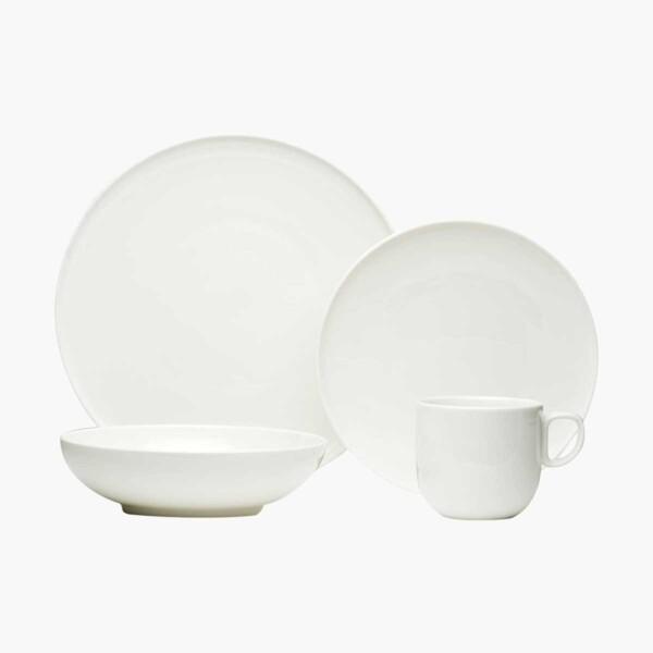 Red Vanilla White Dinnerware set on white background.