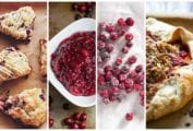 Four of our best cranberry recipes, including cranberry scones, cranberry relish, sugared cranberries, and cranberry crostata.