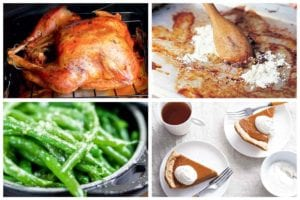 Images of four first Thanksgiving dinner recipes -- roast turkey, pan gravy, pan-fried green beans, and maple pumpkin pie.