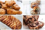 Images of four Hanukkah recipes -- batter-fried chicken, cream cheese rugelach, cheese danish, and chocolate babka.