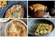 Images of four kickasserole recipes, including butternut squash gratin, beef pie, cacio e pepe kugel and skillet enchiladas