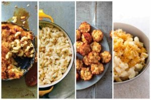 Images of four mac 'n' cheese recipes - macaroni au gratin, three ingredient mac and cheese, mac and cheese canapes, and baked macaroni and cheese with bread crumbs.