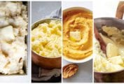Images of four mashed potatoes recipes -- roasted garlic mashed potatoes, garlic mashed potatoes, pumpkin mashed potatoes, and velvet mashed poatotes.