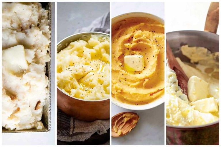 Images of four mashed potatoes recipes -- roasted garlic mashed potatoes, garlic mashed potatoes, pumpkin mashed potatoes, and velvet mashed poatotes.