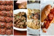 Images of four of the 13 meatball recipes, including, chorizo meatballs, Moroccan meatballs, turkey meatballs with angel hair pasta, and meatball subs.