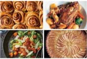 A grid of four must make autumn recipes including cinnamon buns, braised chicken, roasted butternut squash salad, and apple tart.