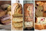 Images of four quick bread recipes including gluten free banana bread, zucchini bread, bourbon-spiked banana bread, and cranberry orange bread.