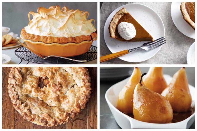Images of four Thanksgiving desserts -- pumpkin meringue pie, maple pumpkin pie, hot buttered rum apple pie, and wine soaked pears.