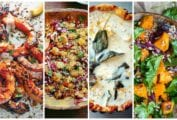 Images of four winter squash recipes -- grilled squash, two butternut squash and grain salads, and a butternut squash quiche.