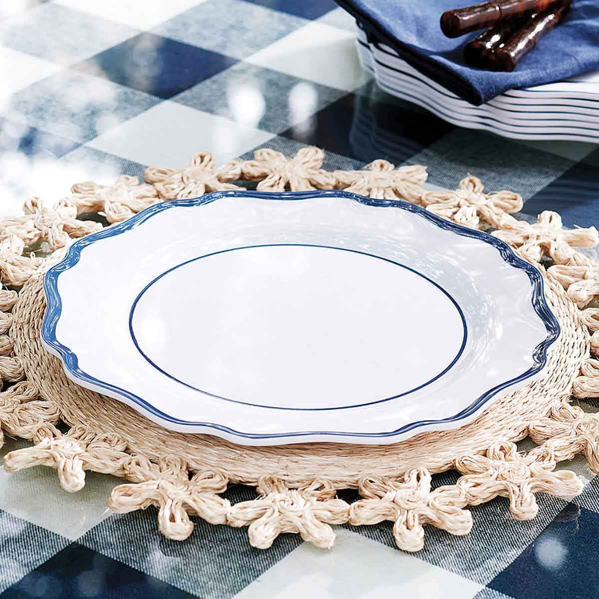 Scalloped Melamine Dinner Plates on placemat