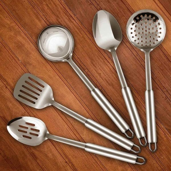 Serving Spoons Set on Wood