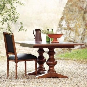 Tarvine Double Pedestal Extension Table with chair