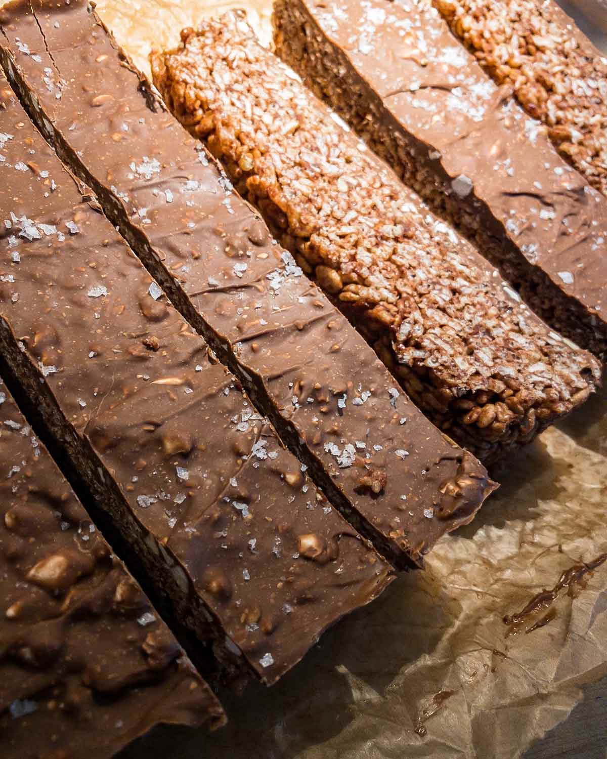 A pan of Toblerone Rice Krispies treats cut into bars.
