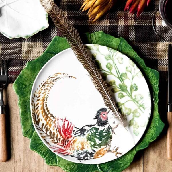 Vietri Fauna Salad Plate with bird feather.