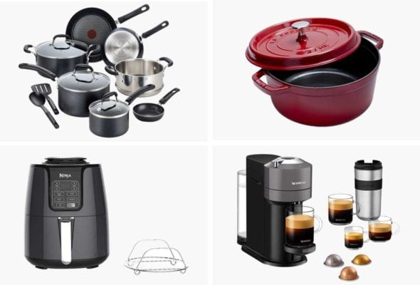 A grid of four Black Friday sale products -- cookware, a Le Creuset dish, air fryer, and Nespresso machine.