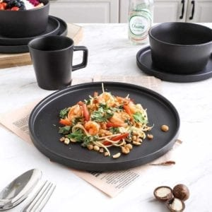 Black Stoneware Dinnerware shown with pad thai.