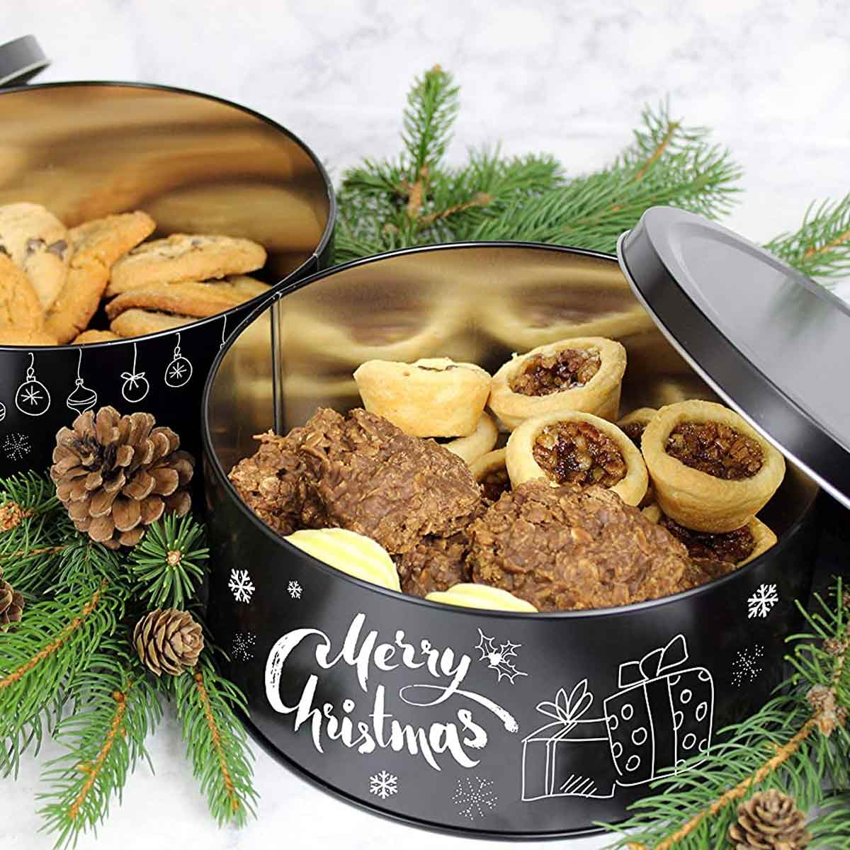 Chalkboard Cookie Tin Merry Christmas