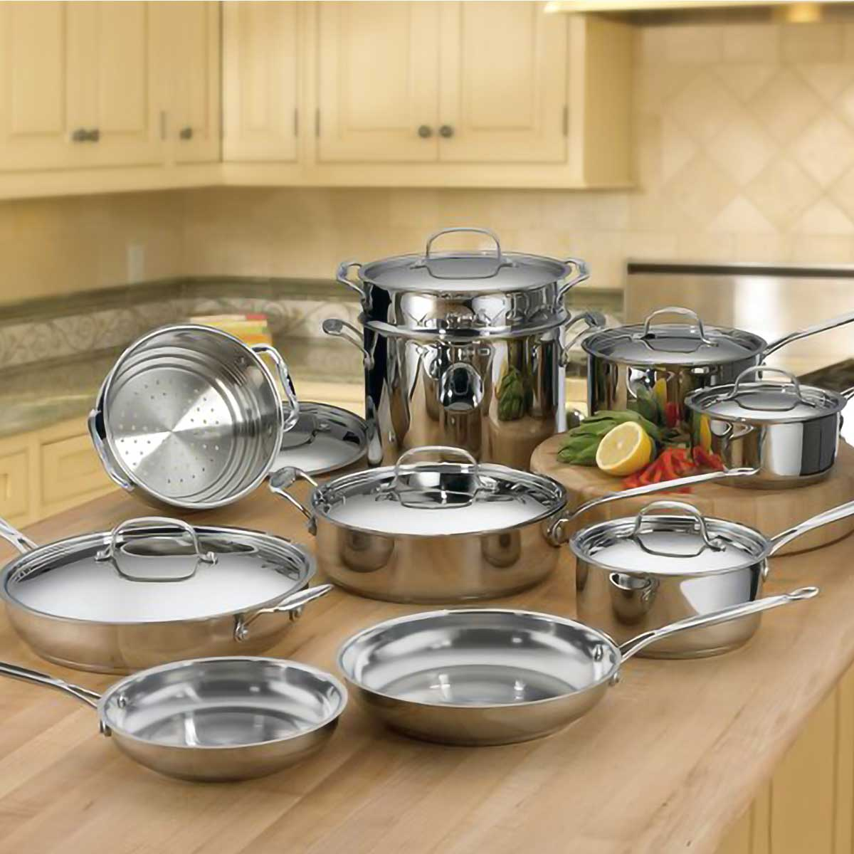Cuisinart terStainless Steel Cookware Set on Coun
