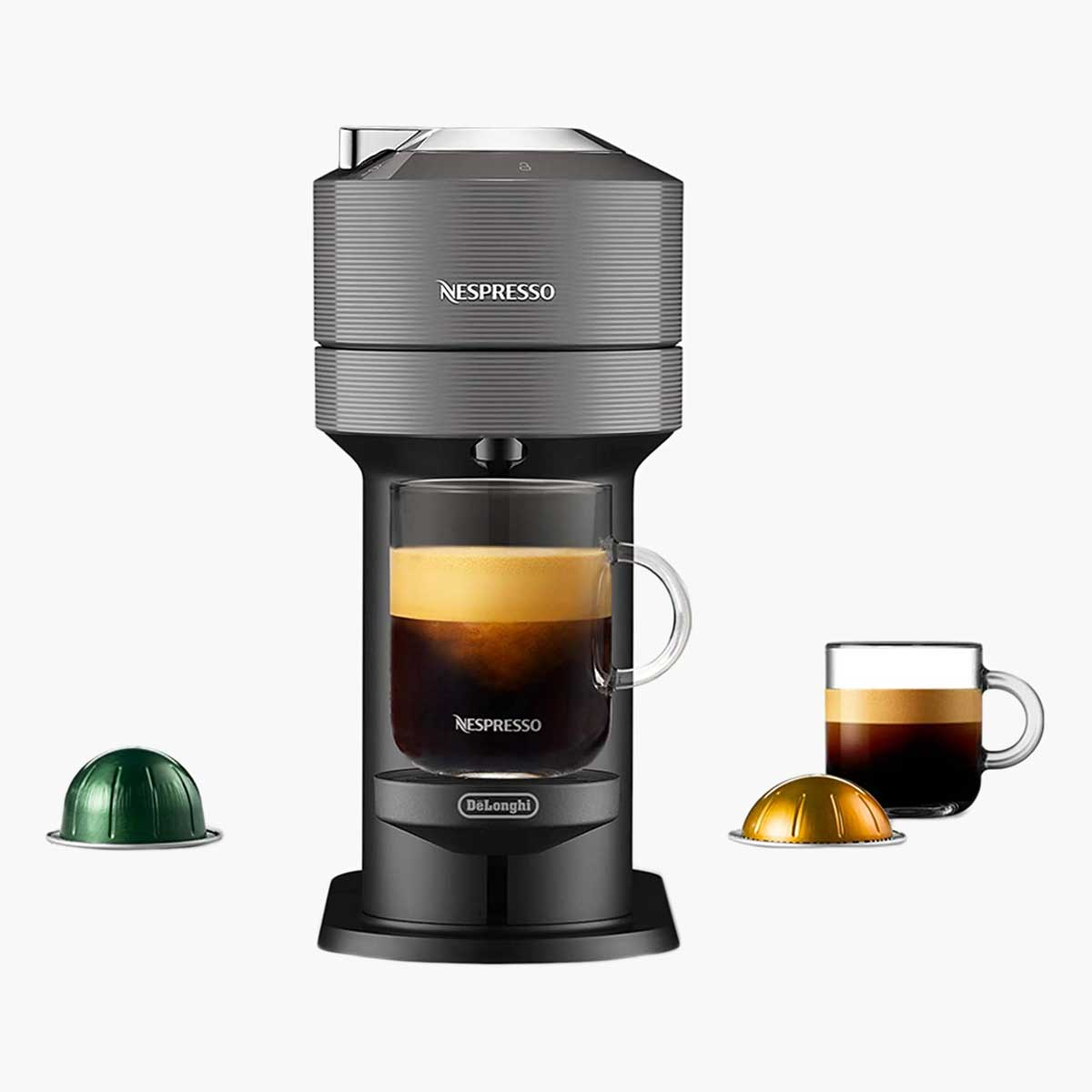 Nespresso Vertuo Espresso Maker with green and gold pods