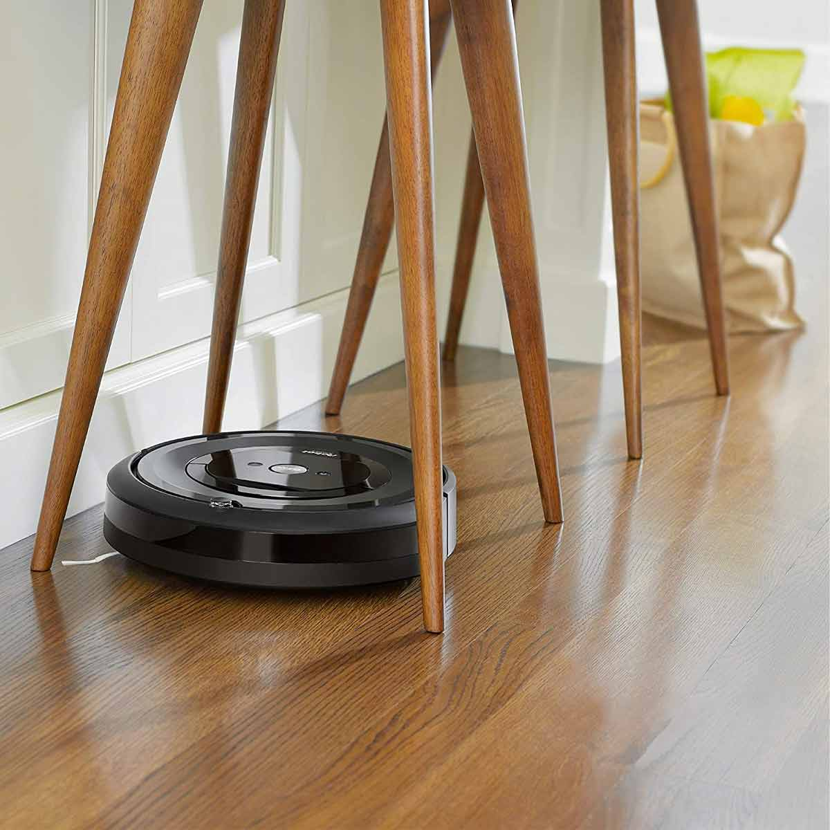 Roomba Robot Vacuum under chair